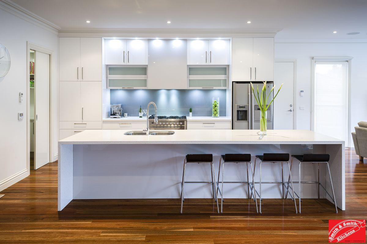Modern white kitchen modern white kitchen pics smith for Kitchen wall island