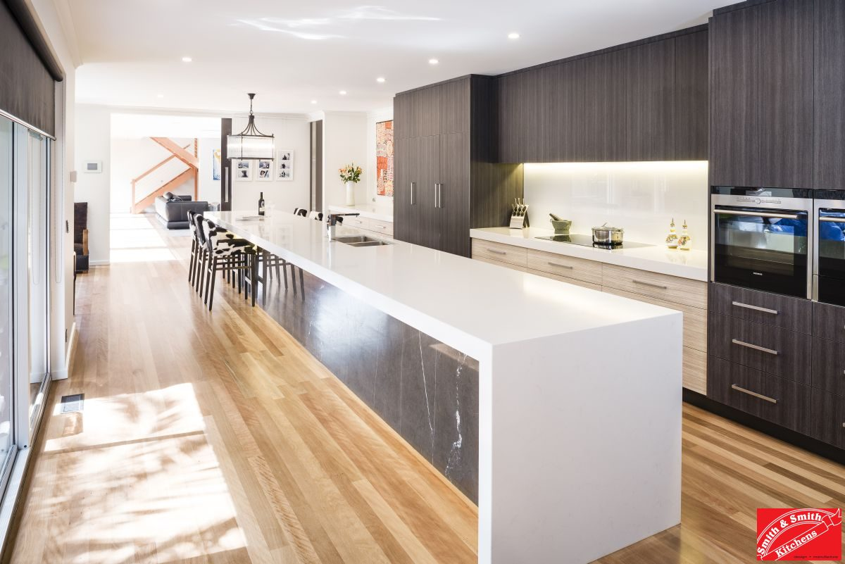 contemporary kitchens gallery. long island bench, two tone kitchen, timber floor contemporary kitchens gallery
