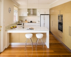 Small kitchen, timber veneer, apartment kitchen