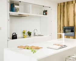 White, Kitchen, Modern, Hidden Kitchen, Timber Veneer