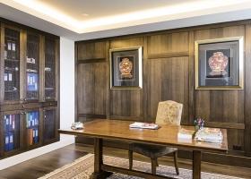 Study, wood panelling, shelving, mesh door inserts, Toorak.