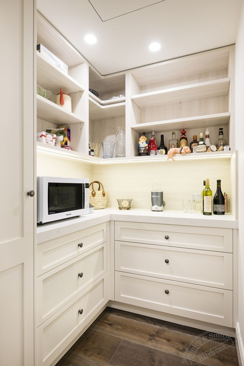 Modern white kitchen toorak for Modern kitchen pantry